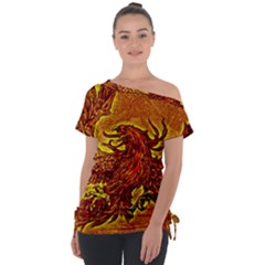 Phoenix Rising Off Shoulder Tie-up Tee