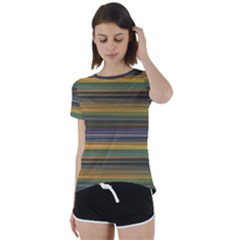 Multicolored Linear Abstract Print Short Sleeve Foldover Tee