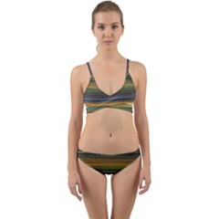 Multicolored Linear Abstract Print Wrap Around Bikini Set by dflcprintsclothing