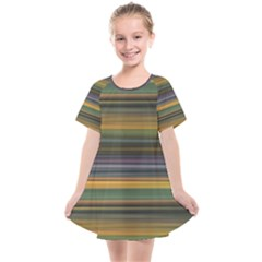 Multicolored Linear Abstract Print Kids  Smock Dress