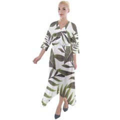 Green Leaves Quarter Sleeve Wrap Front Maxi Dress by goljakoff