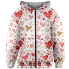 Beautiful Hearts Pattern Cute Cakes Valentine Kids  Zipper Hoodie Without Drawstring
