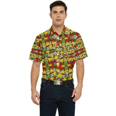 Leaves Pattern Men s Short Sleeve Pocket Shirt