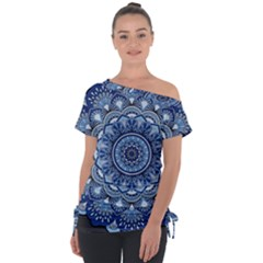 Mandela Flower Off Shoulder Tie-up Tee