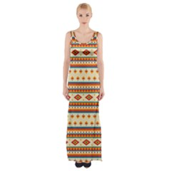 Native American Pattern Thigh Split Maxi Dress