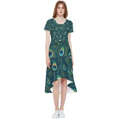 Watercolor Peacock Feather Pattern High Low Boho Dress