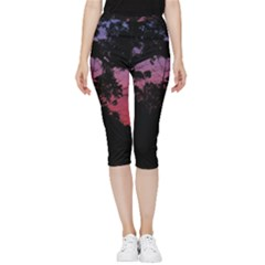 Sunset Landscape High Contrast Photo Inside Out Lightweight Velour Capri Leggings  by dflcprintsclothing