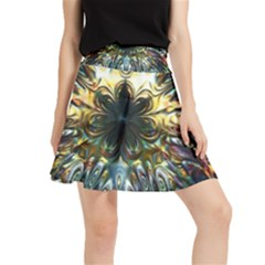 Multicolor Floral Art Copper Patina  Waistband Skirt