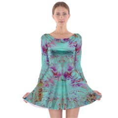Retro Hippie Abstract Floral Blue Violet Long Sleeve Skater Dress