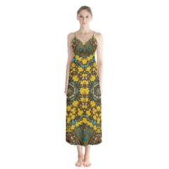 Mandala Faux Artificial Leather Among Spring Flowers Button Up Chiffon Maxi Dress