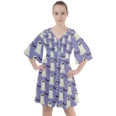 Halloween Ghost Bat Boho Button Up Dress