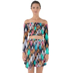 Abstract Triangle Tree Off Shoulder Top With Skirt Set