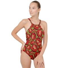 Abstract Rose Garden Red High Neck One Piece Swimsuit