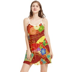 Floral Abstract Summer Frill Dress