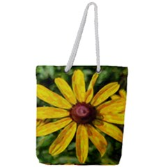 Sunflower Painting Full Print Rope Handle Tote (large)