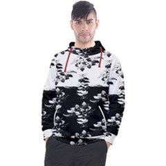 Black And White Flowers Leaves Men s Pullover Hoodie