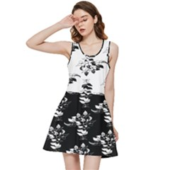 Black And White Flowers Leaves Inside Out Racerback Dress