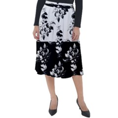 Black And White Flowers Leaves Classic Velour Midi Skirt  by Lotus