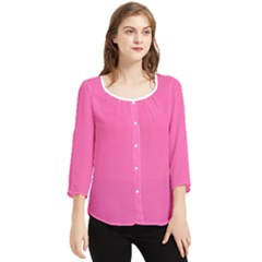 Color Hotpink Chiffon Quarter Sleeve Blouse