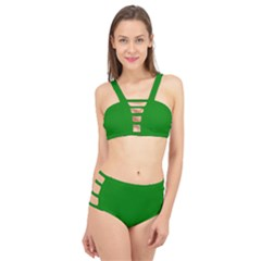 Color Green Cage Up Bikini Set