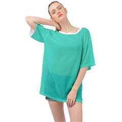 Color Turquoise Oversized Chiffon Top