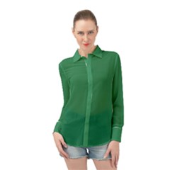 Color Sea Green Long Sleeve Chiffon Shirt