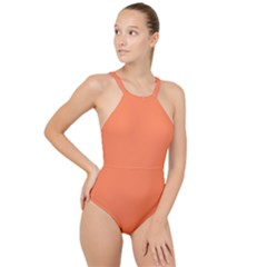 Color Coral High Neck One Piece Swimsuit