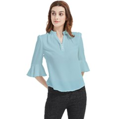 Color Light Blue Loose Horn Sleeve Chiffon Blouse