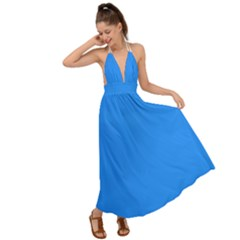 Color Dodger Blue Backless Maxi Beach Dress