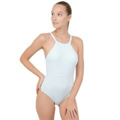 Color Mint Cream High Neck One Piece Swimsuit