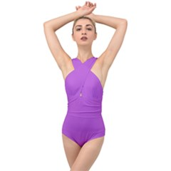 Color Medium Orchid Cross Front Low Back Swimsuit