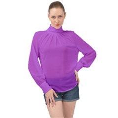 Color Medium Orchid High Neck Long Sleeve Chiffon Top