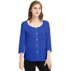 Color Egyptian Blue Chiffon Quarter Sleeve Blouse