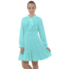 Color Ice Blue All Frills Chiffon Dress