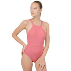 Color Light Red High Neck One Piece Swimsuit