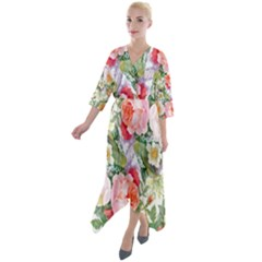 Garden Flowers Quarter Sleeve Wrap Front Maxi Dress by goljakoff