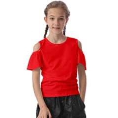 Color Red Kids  Butterfly Cutout Tee