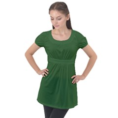 Basil Green Puff Sleeve Tunic Top