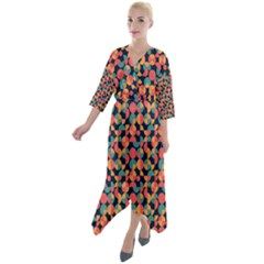 Beautiful Shapes Pattern Quarter Sleeve Wrap Front Maxi Dress by designsbymallika