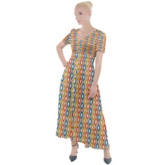 Psychedelic Groovy Pattern Button Up Short Sleeve Maxi Dress