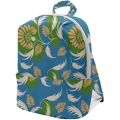 Folk Floral Pattern  Flowers Print  Zip Up Backpack by Eskimos