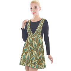Green Leaves Plunge Pinafore Velour Dress