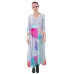 Rainbow Paint Button Up Maxi Dress by goljakoff