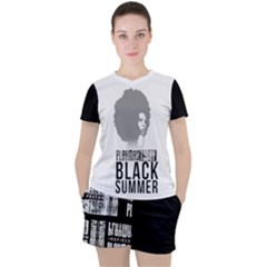 Black-summer Women s Mesh Tee And Shorts Set