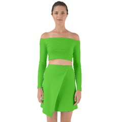 Bright Green Off Shoulder Top With Skirt Set