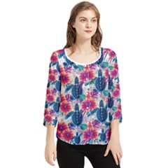 Tropical Flowers Turtles Cbdoilprincess 9a8efa63-1b6b-4226-a85c-858859e581d8 Chiffon Quarter Sleeve Blouse