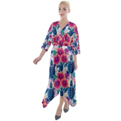 Tropical Flowers Turtles Cbdoilprincess 9a8efa63-1b6b-4226-a85c-858859e581d8 Quarter Sleeve Wrap Front Maxi Dress by CBDOilPrincess1