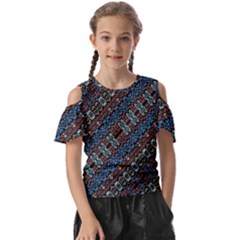 Multicolored Mosaic Print Pattern Kids  Butterfly Cutout Tee