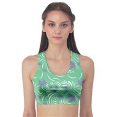 Folk Floral Pattern  Abstract Flowers Print  Seamless Pattern Sports Bra