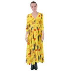 Folk Floral Pattern  Abstract Flowers Print  Seamless Pattern Button Up Maxi Dress